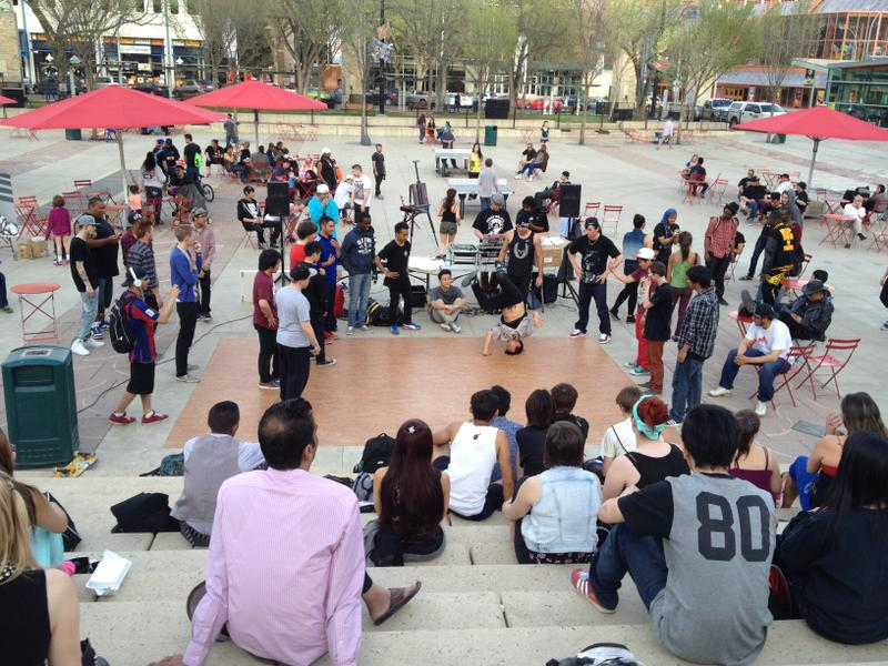 DJs, dancers, artists, and crowd at Churchill Square
